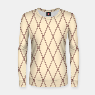 Thumbnail image of Nautical Fishing Net (Beige and Sepia) Women sweater, Live Heroes