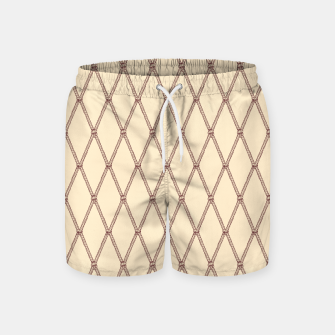 Thumbnail image of Nautical Fishing Net (Beige and Sepia) Swim Shorts, Live Heroes