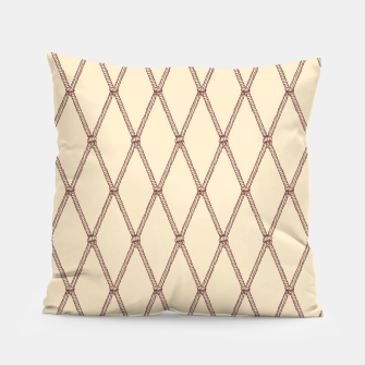 Thumbnail image of Nautical Fishing Net (Beige and Sepia) Pillow, Live Heroes