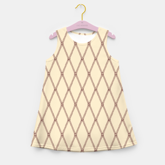 Thumbnail image of Nautical Fishing Net (Beige and Sepia) Girl's summer dress, Live Heroes