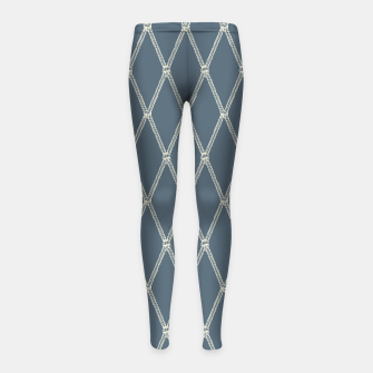 Thumbnail image of Nautical Fishing Net (Blue-Grey and Beige) Girl's leggings, Live Heroes