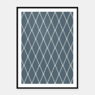 Thumbnail image of Nautical Fishing Net (Blue-Grey and Beige) Framed poster, Live Heroes