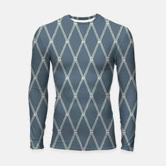 Thumbnail image of Nautical Fishing Net (Blue-Grey and Beige) Longsleeve rashguard , Live Heroes