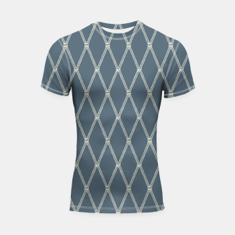 Thumbnail image of Nautical Fishing Net (Blue-Grey and Beige) Shortsleeve rashguard, Live Heroes