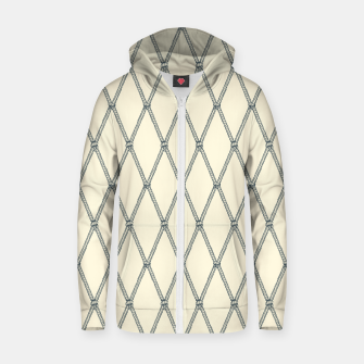 Thumbnail image of Nautical Fishing Net (Beige and Grey) Zip up hoodie, Live Heroes
