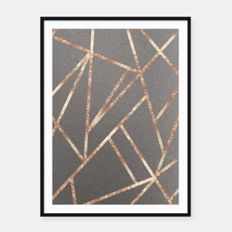Thumbnail image of Classic Gray Rose Gold Geo #1 #geometric #decor #art Plakat mit rahmen, Live Heroes