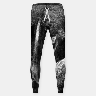 Thumbnail image of lower lake waterfall plitvice lakes national park croatia bw Sweatpants, Live Heroes