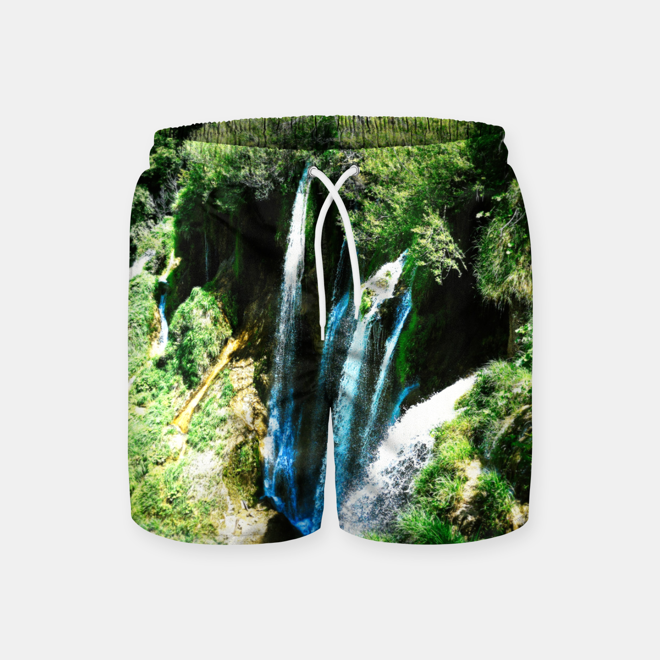 Image of lower lake waterfall plitvice lakes national park croatia agfa Swim Shorts - Live Heroes