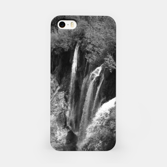 Thumbnail image of lower lake waterfall plitvice lakes national park croatia bw iPhone Case, Live Heroes