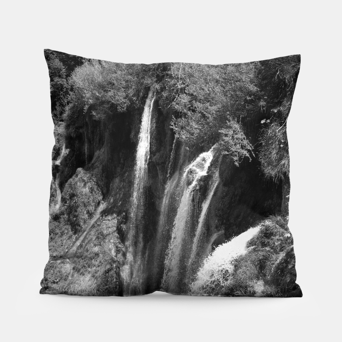 Image of lower lake waterfall plitvice lakes national park croatia bw Pillow - Live Heroes