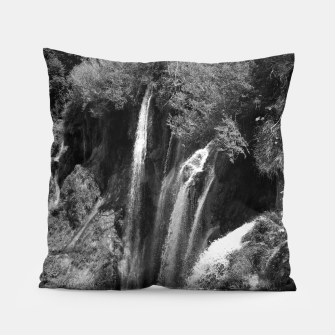 Thumbnail image of lower lake waterfall plitvice lakes national park croatia bw Pillow, Live Heroes