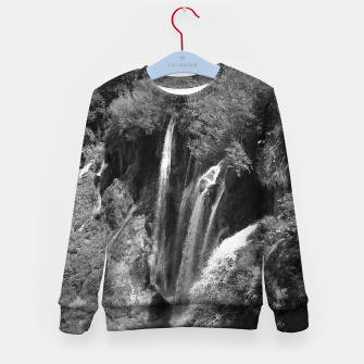 Thumbnail image of lower lake waterfall plitvice lakes national park croatia bw Kid's sweater, Live Heroes