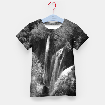 Thumbnail image of lower lake waterfall plitvice lakes national park croatia bw Kid's t-shirt, Live Heroes