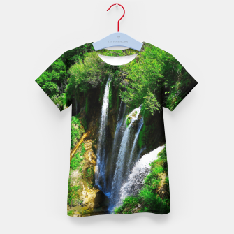 Thumbnail image of lower lake waterfall plitvice lakes national park croatia std Kid's t-shirt, Live Heroes