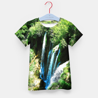 Thumbnail image of lower lake waterfall plitvice lakes national park croatia agfa Kid's t-shirt, Live Heroes