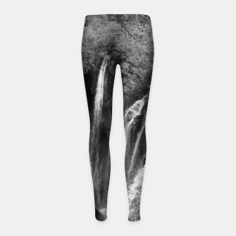 Thumbnail image of lower lake waterfall plitvice lakes national park croatia bw Girl's leggings, Live Heroes