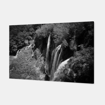 Thumbnail image of lower lake waterfall plitvice lakes national park croatia bw Canvas, Live Heroes