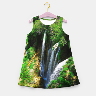 Thumbnail image of lower lake waterfall plitvice lakes national park croatia std Girl's summer dress, Live Heroes