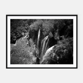 Thumbnail image of lower lake waterfall plitvice lakes national park croatia bw Framed poster, Live Heroes