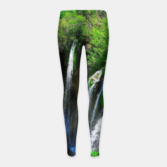 Thumbnail image of lower lake waterfall plitvice lakes national park croatia std Girl's leggings, Live Heroes