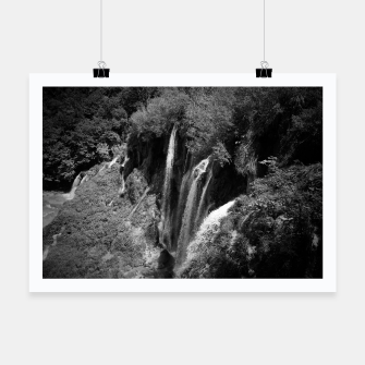 Thumbnail image of lower lake waterfall plitvice lakes national park croatia bw Poster, Live Heroes