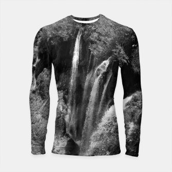 Thumbnail image of lower lake waterfall plitvice lakes national park croatia bw Longsleeve rashguard , Live Heroes