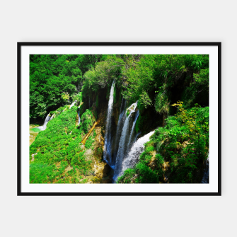 Thumbnail image of lower lake waterfall plitvice lakes national park croatia std Framed poster, Live Heroes