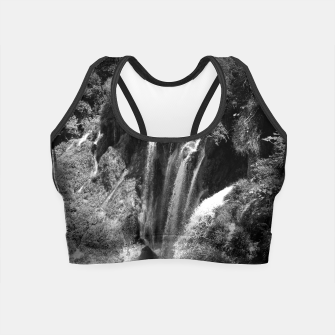 Thumbnail image of lower lake waterfall plitvice lakes national park croatia bw Crop Top, Live Heroes