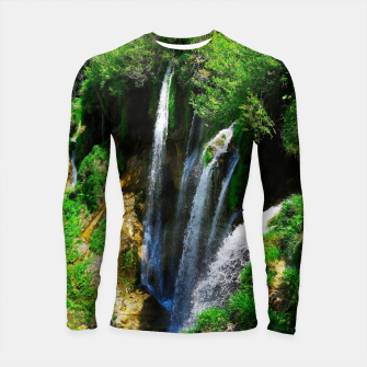 Thumbnail image of lower lake waterfall plitvice lakes national park croatia std Longsleeve rashguard , Live Heroes