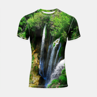 Thumbnail image of lower lake waterfall plitvice lakes national park croatia std Shortsleeve rashguard, Live Heroes