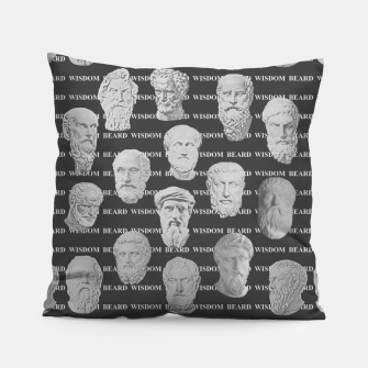Thumbnail image of Wisdom Beard Wisdom - dark grey Pillow, Live Heroes
