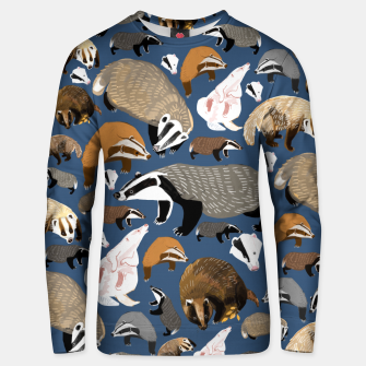 Thumbnail image of Badger pattern in blue Sudadera unisex, Live Heroes