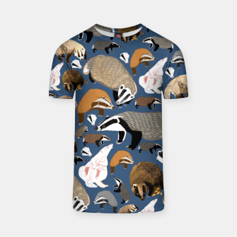 Thumbnail image of Badger pattern in blue Camiseta, Live Heroes