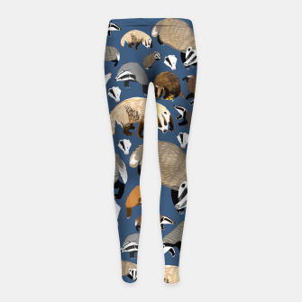 Imagen en miniatura de Badger pattern in blue Leggings para niña, Live Heroes