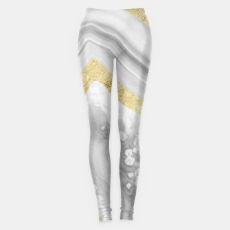 Thumbnail image of Agate Gold Foil Glam #3 #gem #decor #art Leggings, Live Heroes