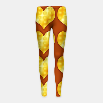Imagen en miniatura de Golden hearts-Brown Leggings para niña, Live Heroes