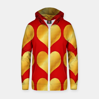 Thumbnail image of Golden hearts- Red Sudadera con capucha y cremallera , Live Heroes