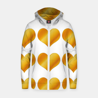 Thumbnail image of Golden hearts-White Sudadera con capucha y cremallera , Live Heroes