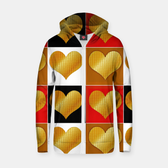 Thumbnail image of Golden hearts-Collage Sudadera con capucha y cremallera , Live Heroes