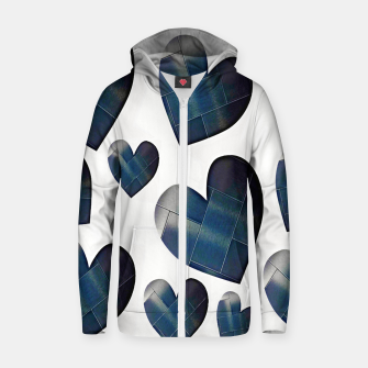 Thumbnail image of Silver hearts-White Sudadera con capucha y cremallera , Live Heroes