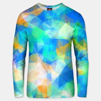 Thumbnail image of geometric triangle pattern abstract background in blue green orange Unisex sweater, Live Heroes