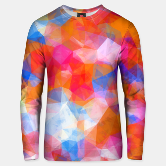 Thumbnail image of geometric triangle pattern abstract background in orange pink blue Unisex sweater, Live Heroes
