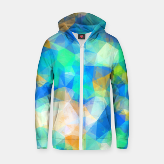 Thumbnail image of geometric triangle pattern abstract background in blue green orange Zip up hoodie, Live Heroes