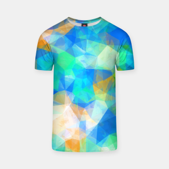 Thumbnail image of geometric triangle pattern abstract background in blue green orange T-shirt, Live Heroes