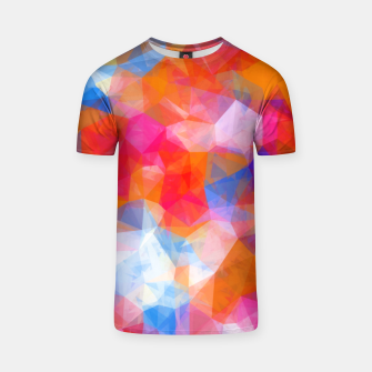 Thumbnail image of geometric triangle pattern abstract background in orange pink blue T-shirt, Live Heroes