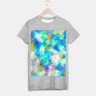 Thumbnail image of geometric triangle pattern abstract background in blue green orange T-shirt regular, Live Heroes