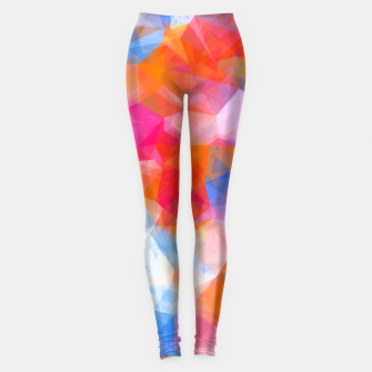 Thumbnail image of geometric triangle pattern abstract background in orange pink blue Leggings, Live Heroes
