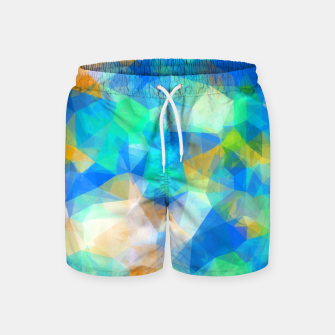 Thumbnail image of geometric triangle pattern abstract background in blue green orange Swim Shorts, Live Heroes