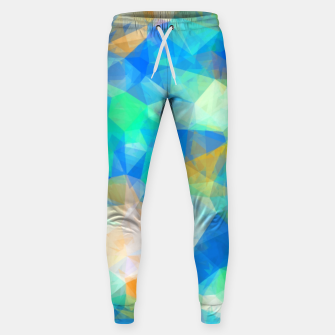 Thumbnail image of geometric triangle pattern abstract background in blue green orange Sweatpants, Live Heroes