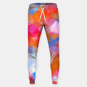 Thumbnail image of geometric triangle pattern abstract background in orange pink blue Sweatpants, Live Heroes